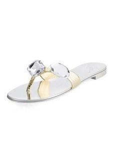 Giuseppe Zanotti Jeweled Metallic Flat Slide Sandal
