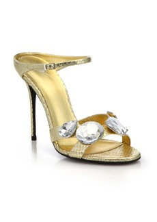 Giuseppe Zanotti Jeweled Metallic Leather Slide Sandals