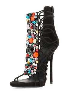 Giuseppe Zanotti Jeweled Suede T-Strap Sandal/Bootie