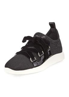 Giuseppe Zanotti Knit Sneaker with Velvet Straps