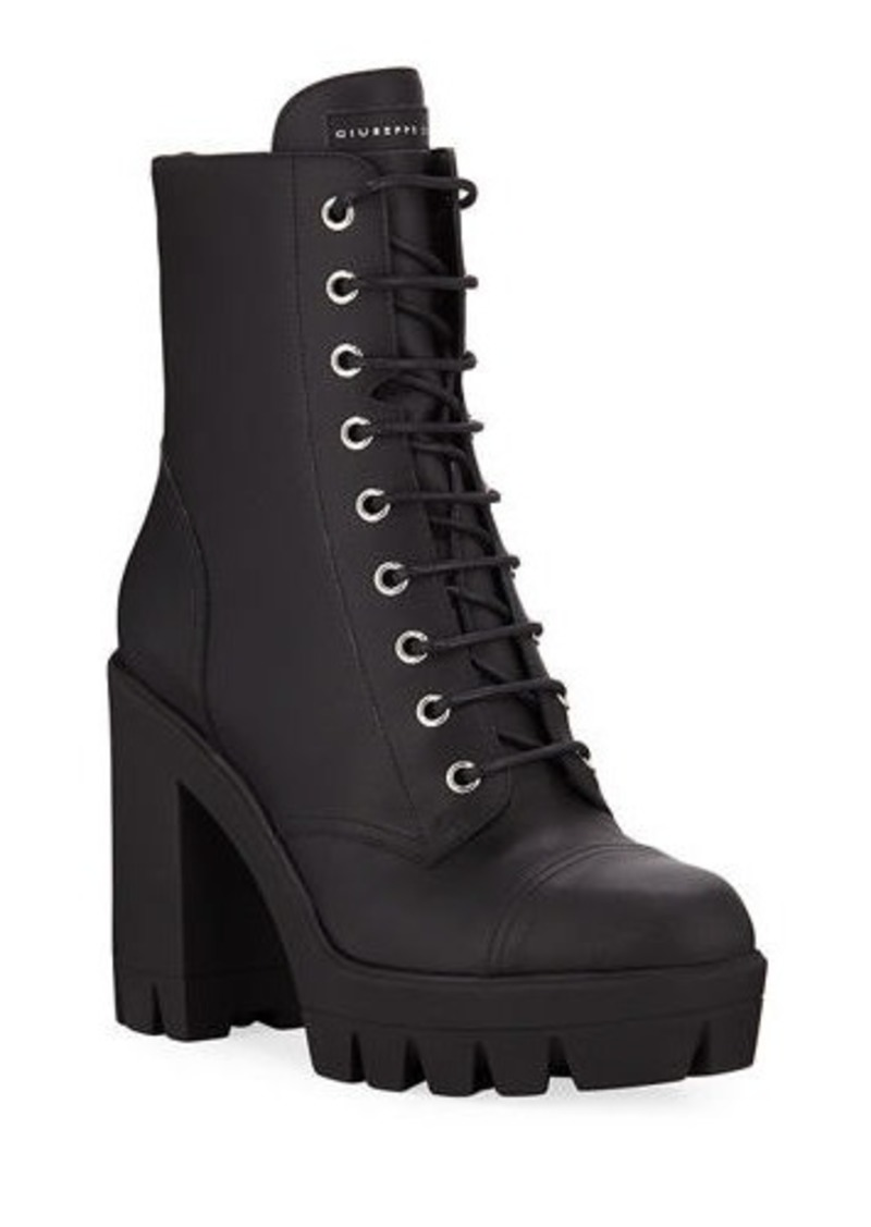 Giuseppe Zanotti Leather Block-Heel Combat Boots