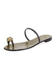 Giuseppe Zanotti Lion Head Leather Flat Sandal