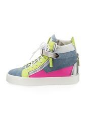 Giuseppe Zanotti May High-Top Denim Colorblock Sneaker