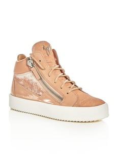 Giuseppe Zanotti May London Velvet High Top Platform Sneakers