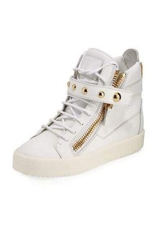 Giuseppe Zanotti May Metallic Lace-Up High-Top Sneaker