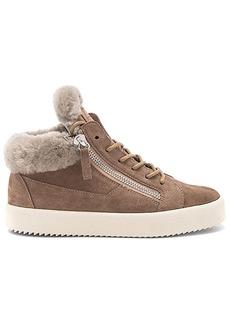 Giuseppe Zanotti Maylondon Sheep Fur Sneaker in Taupe. - size 37 (also in 38,39,40)