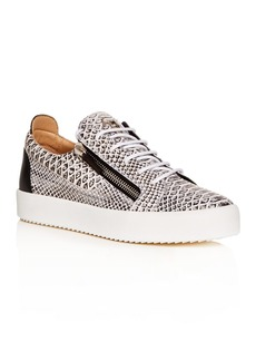 Giuseppe Zanotti Men's Roccia Snake-Embossed Leather Low-Top Sneakers