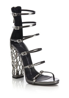 Giuseppe Zanotti Metal Cage Heel Strappy Leather Sandals
