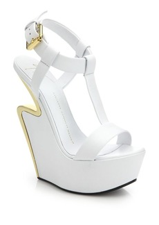 Giuseppe Zanotti Metal-Trimmed Cutout-Wedge Leather Sandals