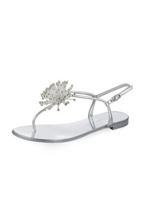 Metallic Crystal Thong Sandal