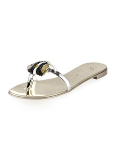Giuseppe Zanotti Metallic Flat Sandal with Jeweled Fish