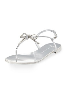 Giuseppe Zanotti Metallic Leather Bow Thong Sandal