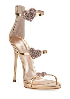Giuseppe Zanotti Metallic Leather Heart Sandals