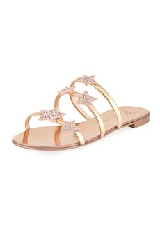 Giuseppe Zanotti Metallic Leather Star Slide Sandal