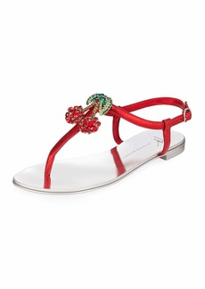 Giuseppe Zanotti Metallic Sandals with Cherry Pendant