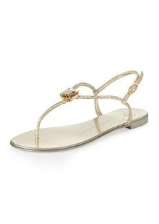 Giuseppe Zanotti Metallic Snake-Embossed Flat Sandal