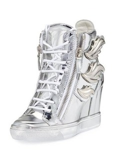 Giuseppe Zanotti Metallic Wings Wedge Sneaker