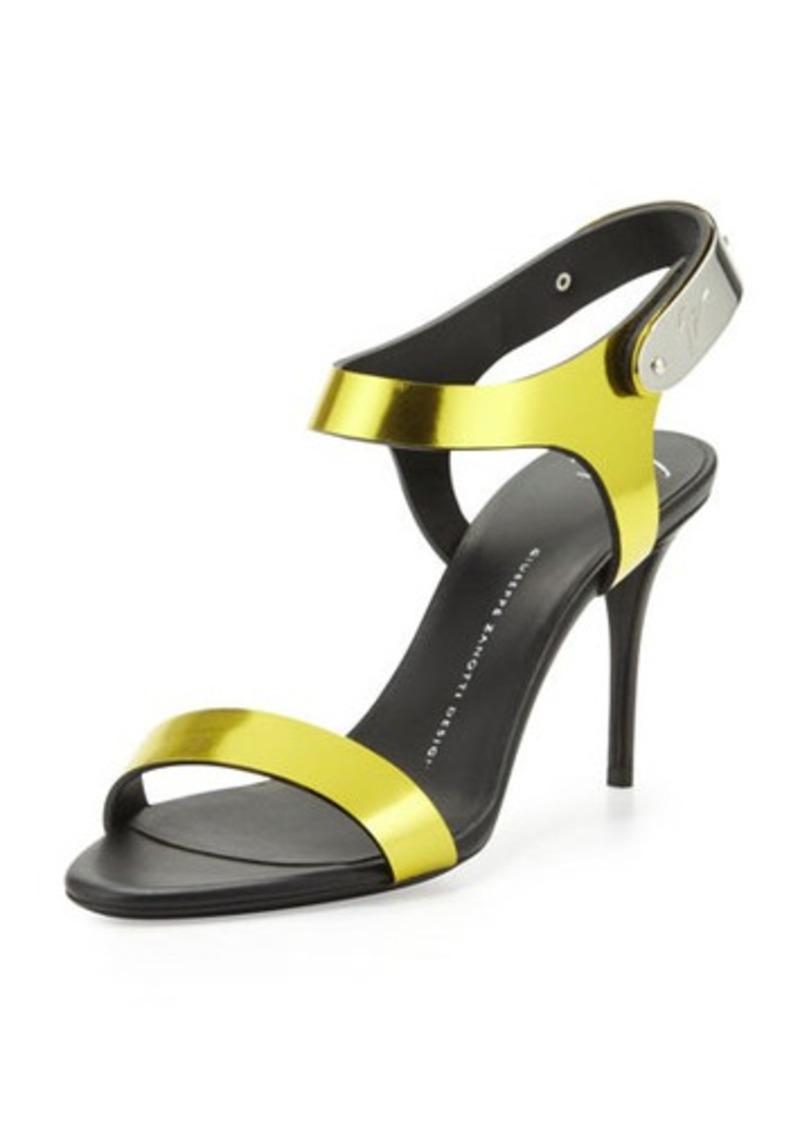 Giuseppe Zanotti Mirrored Metal-Strap Sandal, Lemon