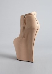 Giuseppe Zanotti nude leather sculpted wedge ankle boots