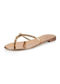 Giuseppe Zanotti Nuvorock Crystal Flat Thong Sandal