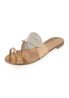 Giuseppe Zanotti Nuvorock Metallic Flat Toe-Ring Sandal
