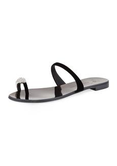 Giuseppe Zanotti NuvoRock Velvet Flat Sandal with Crystal Toe
