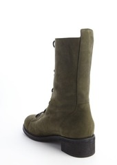 Giuseppe Zanotti olive green suede side zipper detail lace up combat boots