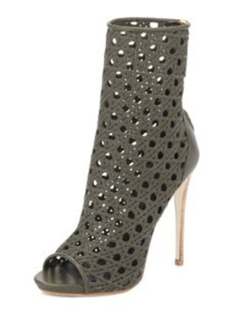 Giuseppe Zanotti Open-Toe Woven Leather Ankle Boot, Army Green
