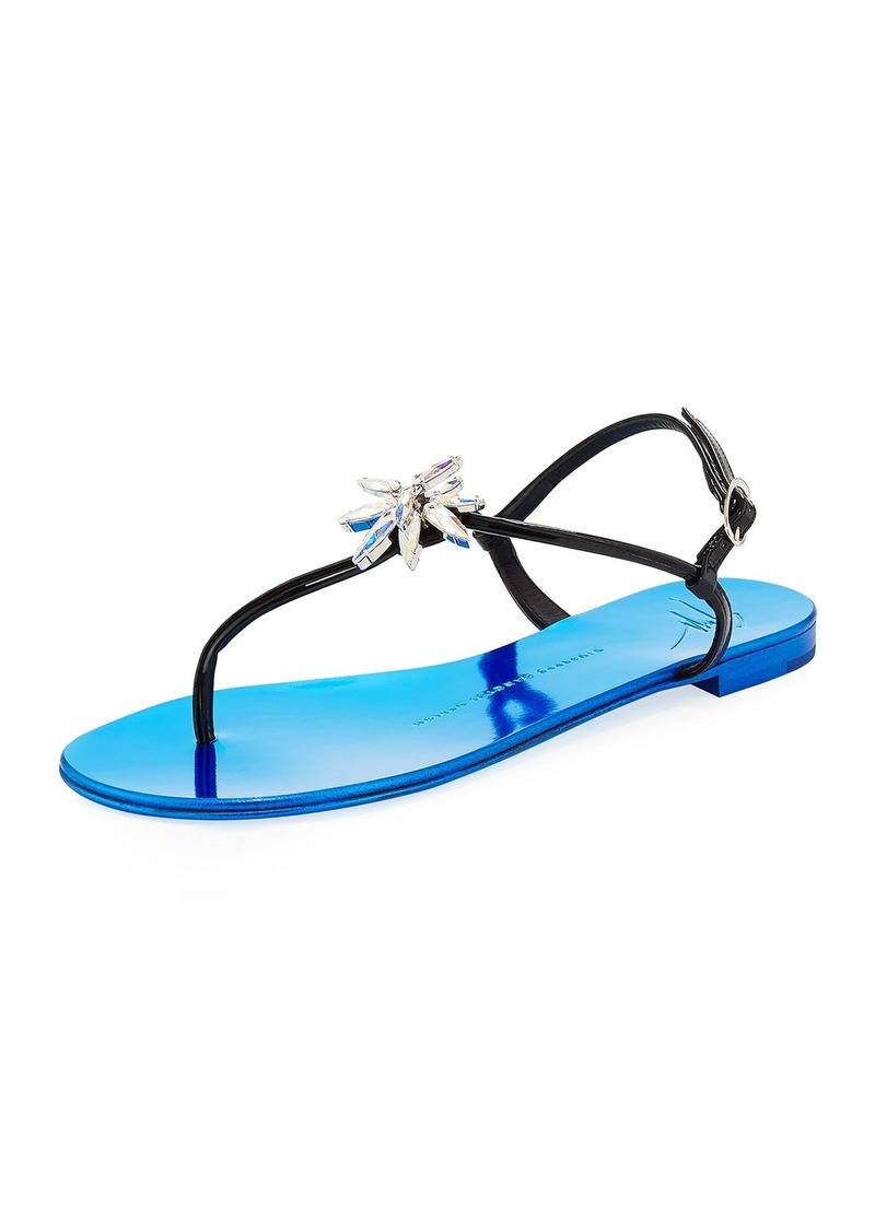 Giuseppe Zanotti Patent Jeweled Flat Thong Sandal