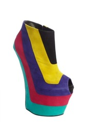 Giuseppe Zanotti rainbow color block peep tow platform wedges