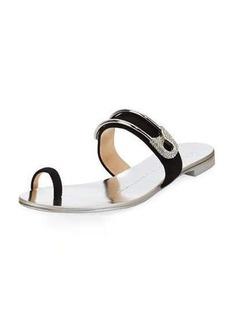 Giuseppe Zanotti Safety Pin Suede Flat Sandal