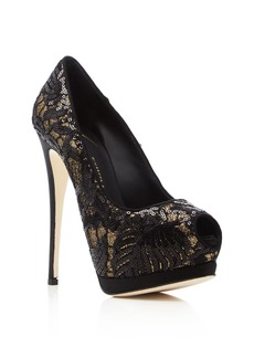 Giuseppe Zanotti Sharon Sequin Lace Peep Toe Platform Pumps