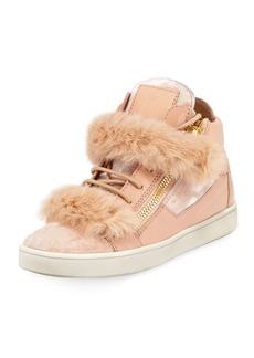 Giuseppe Zanotti Side Zip Fur-Trimmed High-Top Sneaker