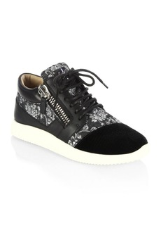 Giuseppe Zanotti Silk, Brocade & Leather Sneakers