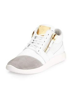Giuseppe Zanotti Singleg Leather & Suede Side-Zip Sneaker