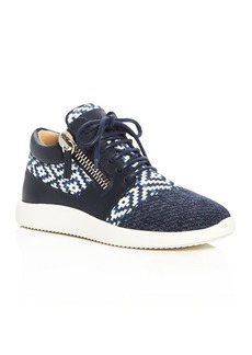 Giuseppe Zanotti Singleg Woven Denim Lace Up Sneakers