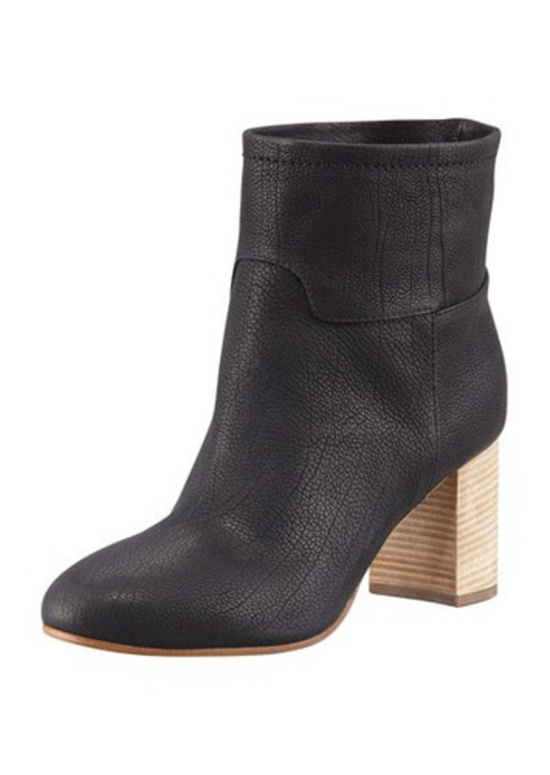 Giuseppe Zanotti Stacked-Heel Leather Ankle Boot, Black