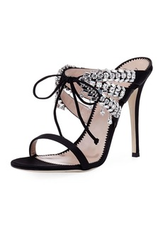 Giuseppe Zanotti Strappy Lace-Up Silk Slide Sandal with Crystals