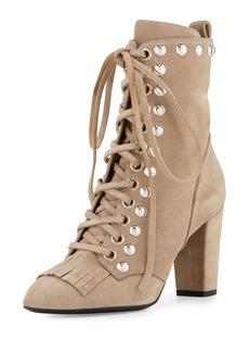 Giuseppe Zanotti Studded Suede Kiltie Lace-Up Boots