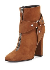 Giuseppe Zanotti Suede Zip-Front Ankle Bootie