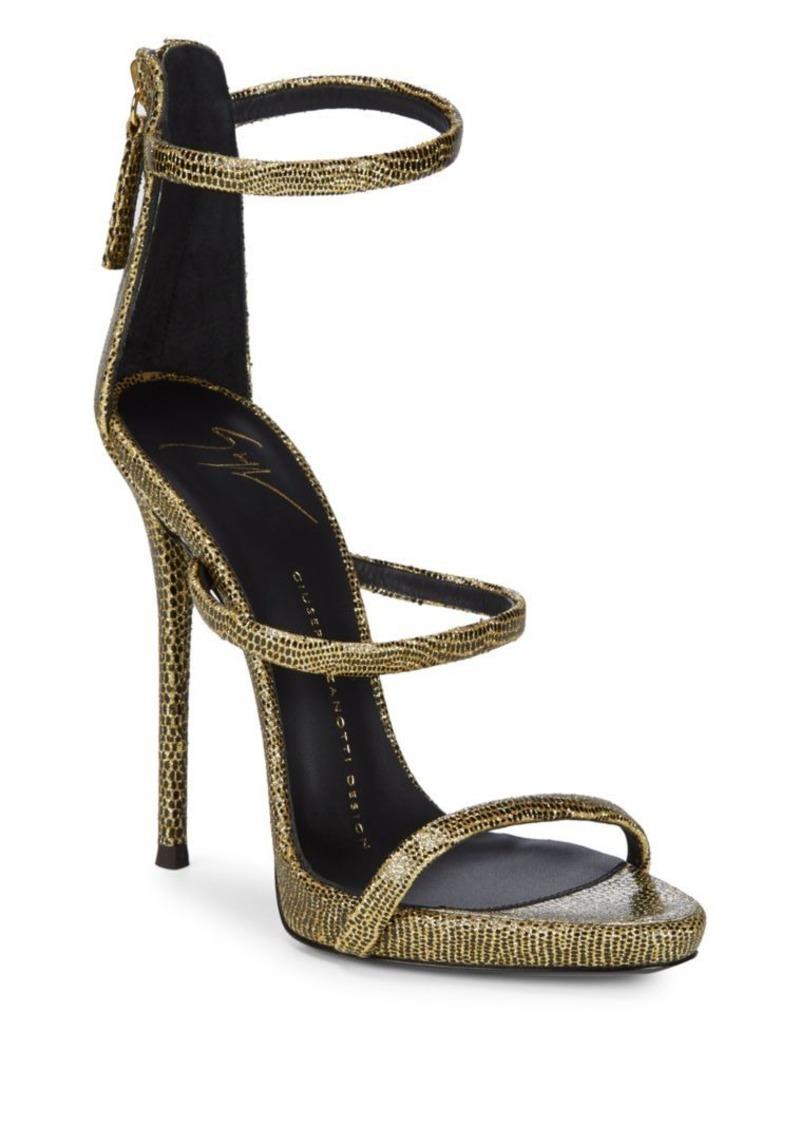 Giuseppe Zanotti Three-Strap Stiletto Heel Leather Sandals