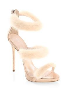 Giuseppe Zanotti Triple Mink Fur Band Sandals