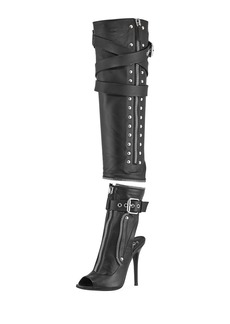 Two-Piece Leather Moto Boot