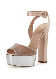 Giuseppe Zanotti Velvet & Leather Platform Ankle-Wrap Sandals