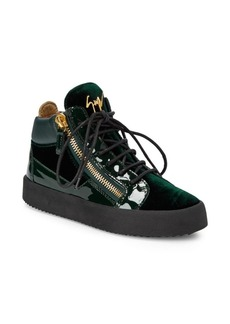 Giuseppe Zanotti Velvet and Patent Mid-Top Sneakers