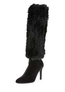 Giuseppe Zanotti Velvet Knee Boots with Fur Trim