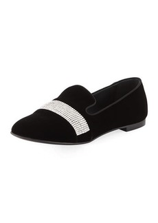 Giuseppe Zanotti Velvet Loafer with Embellished Strap