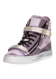 Giuseppe Zanotti Velvet Patent High-Top Sneaker