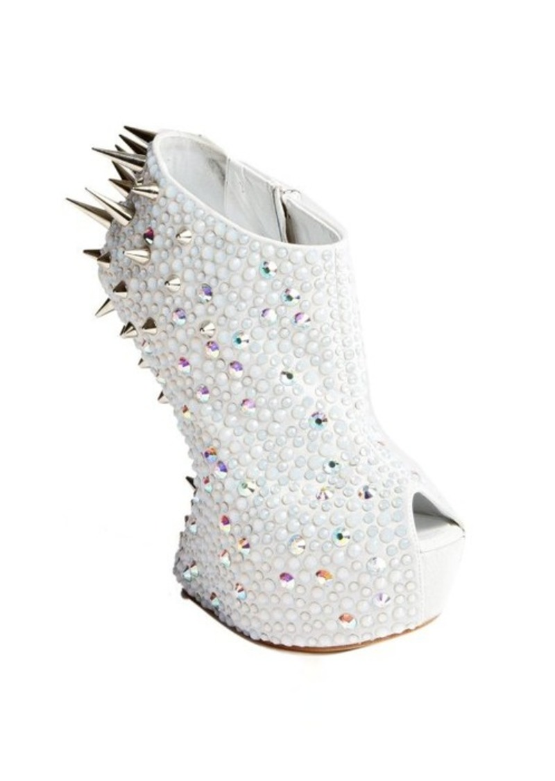 Giuseppe Zanotti white suede crystal and spike studded platform peep toe pumps