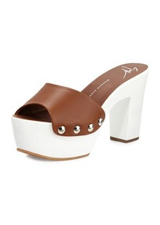 Giuseppe Zanotti White Wall Leather Platform Clog Sandal